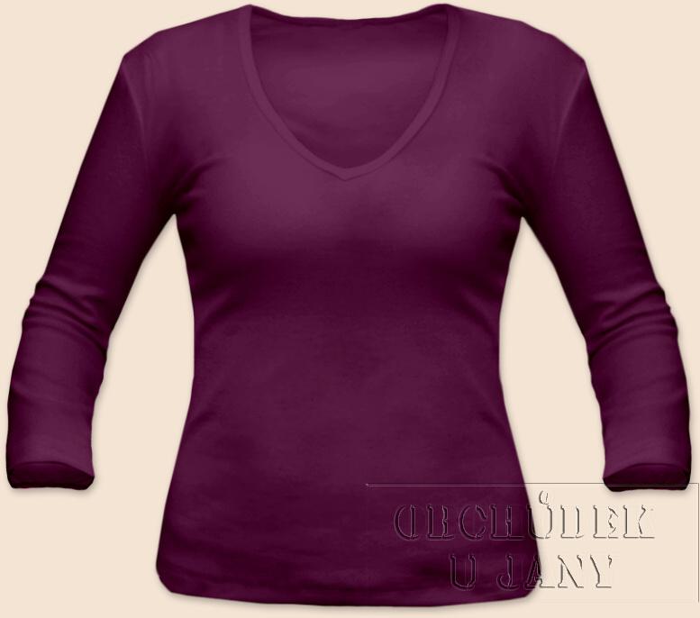 Dámské tričko 3/4 rukáv do V fialovo-růžové