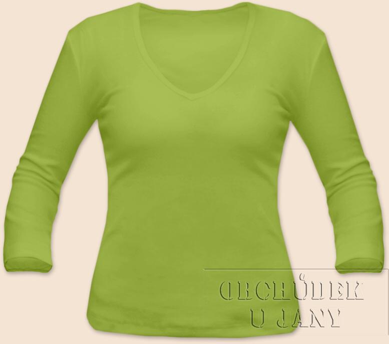 Dámské tričko 3/4 rukáv do V zelené hráškové