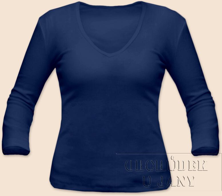 Dámské tričko 3/4 rukáv do V modré