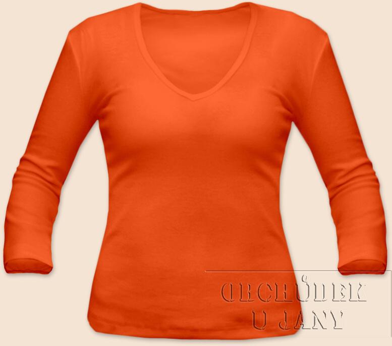 Dámské tričko 3/4 rukáv do V oranžové tmavé