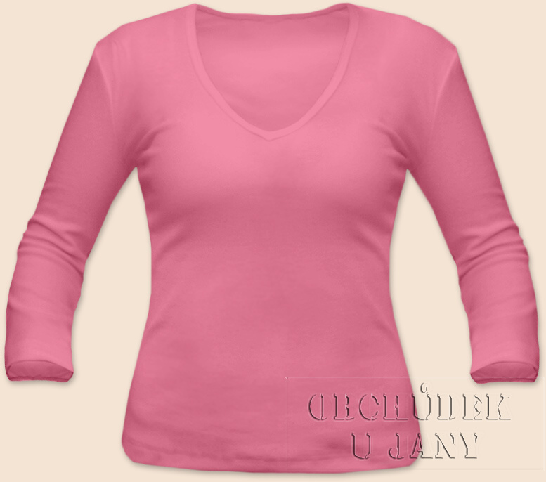 Dámské tričko 3/4 rukáv do V růžové