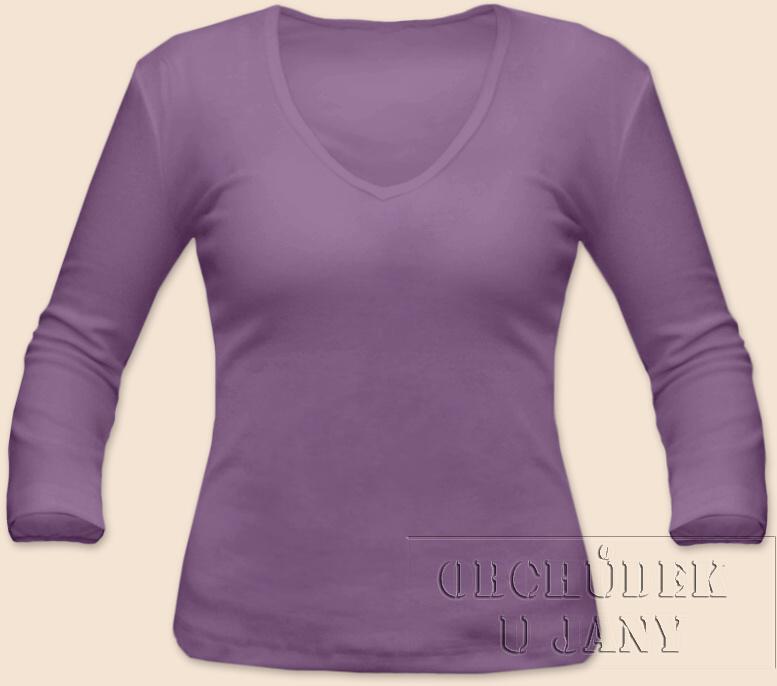 Dámské tričko 3/4 rukáv do V fialové šeříkové