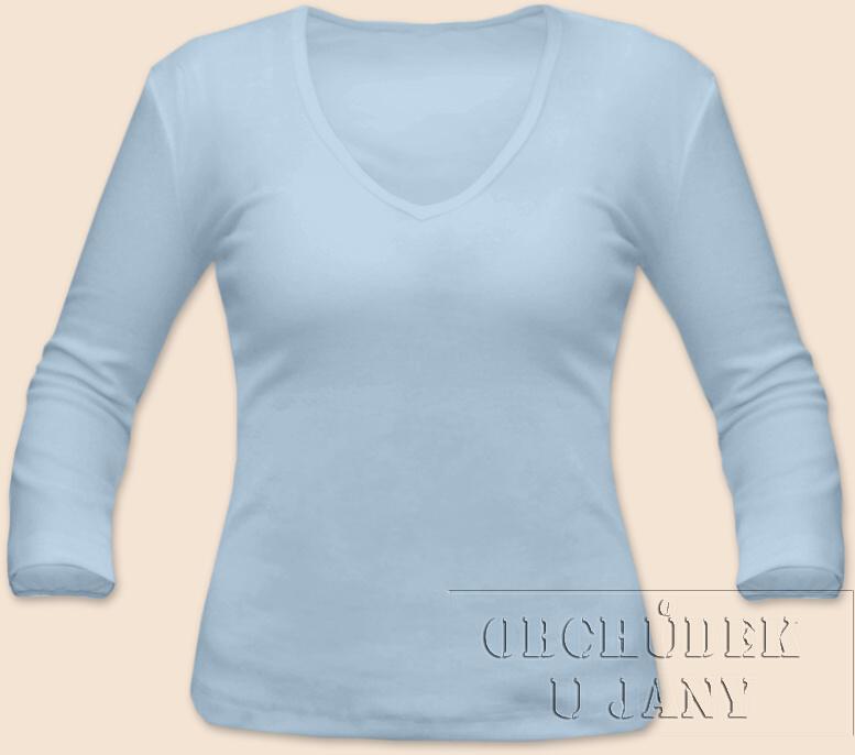 Dámské tričko 3/4 rukáv do V modré světlé