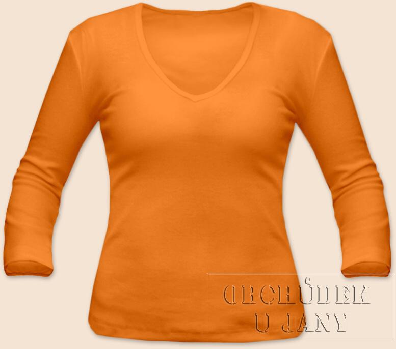 Dámské tričko 3/4 rukáv do V oranžové světlé