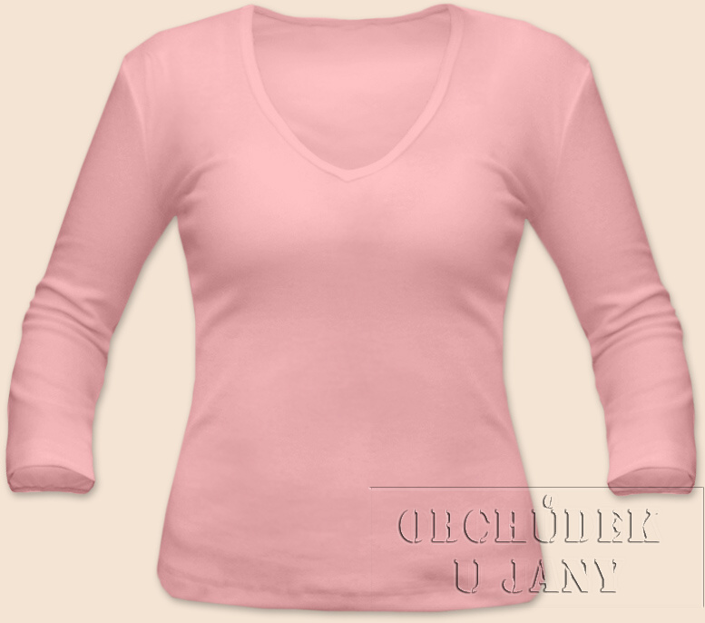 Dámské tričko 3/4 rukáv do V růžové světlé