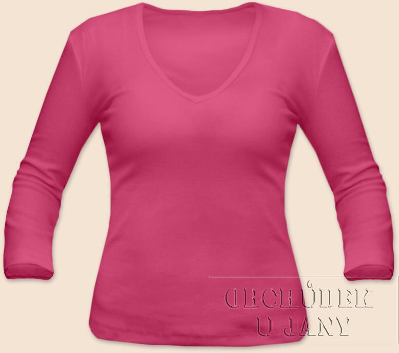 Dámské tričko 3/4 rukáv do V růžové tmavé