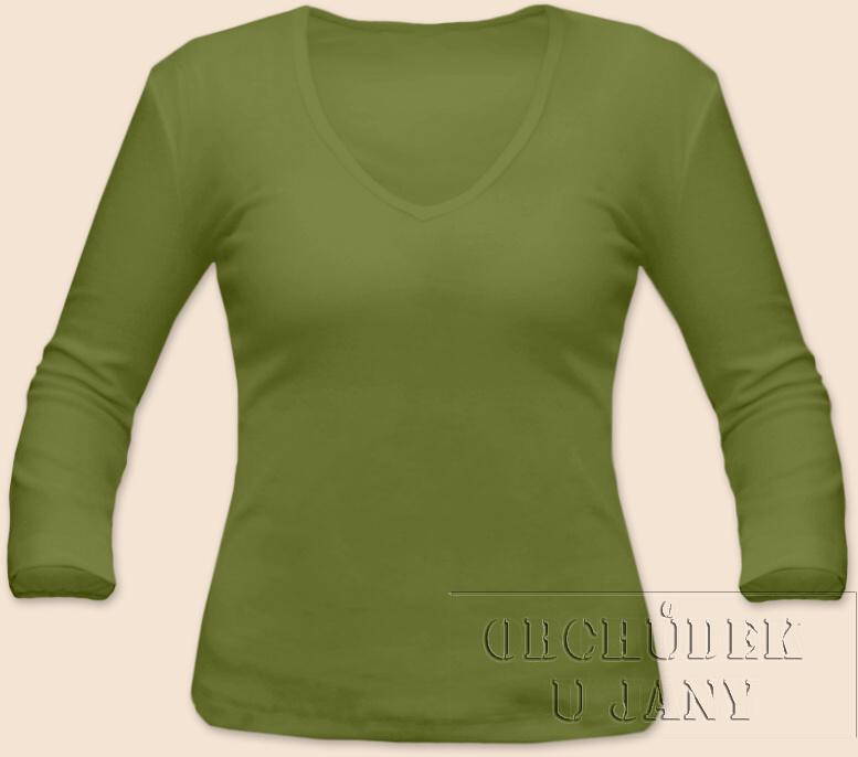 Dámské tričko 3/4 rukáv do V zelené olivové