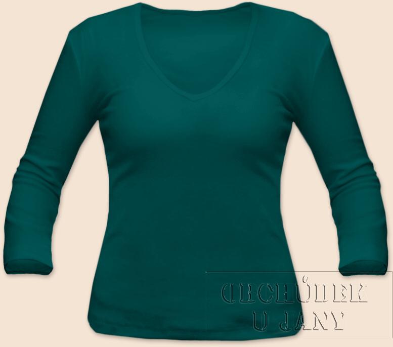 Dámské tričko 3/4 rukáv do V zelenomodré