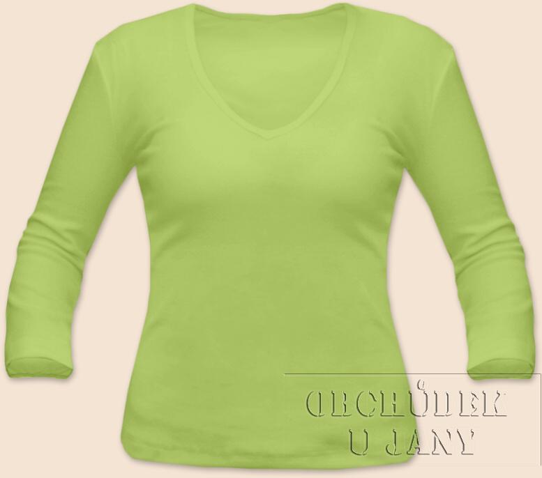 Dámské tričko 3/4 rukáv do V zelenkavé