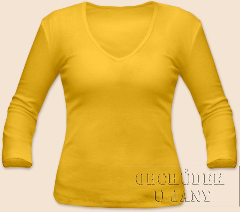 Dámské tričko 3/4 rukáv do V žluté