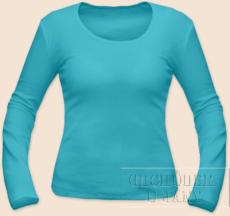 Dámské tričko dlouhý rukáv modré tyrkysové