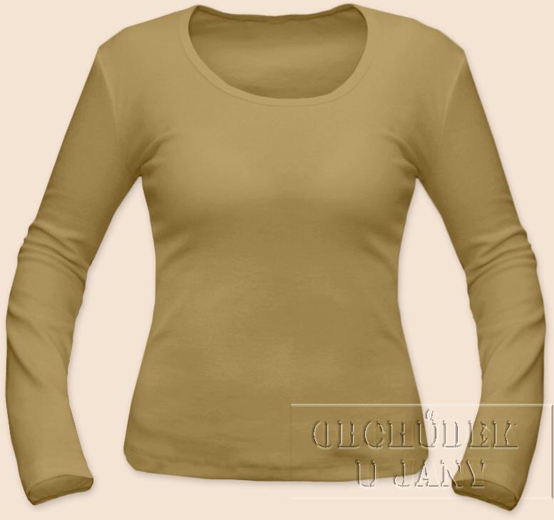 Dámské tričko dlouhý rukáv béžové