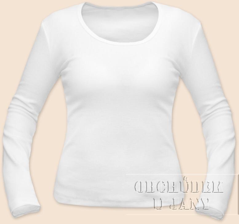 Dámské tričko dlouhý rukáv bílé