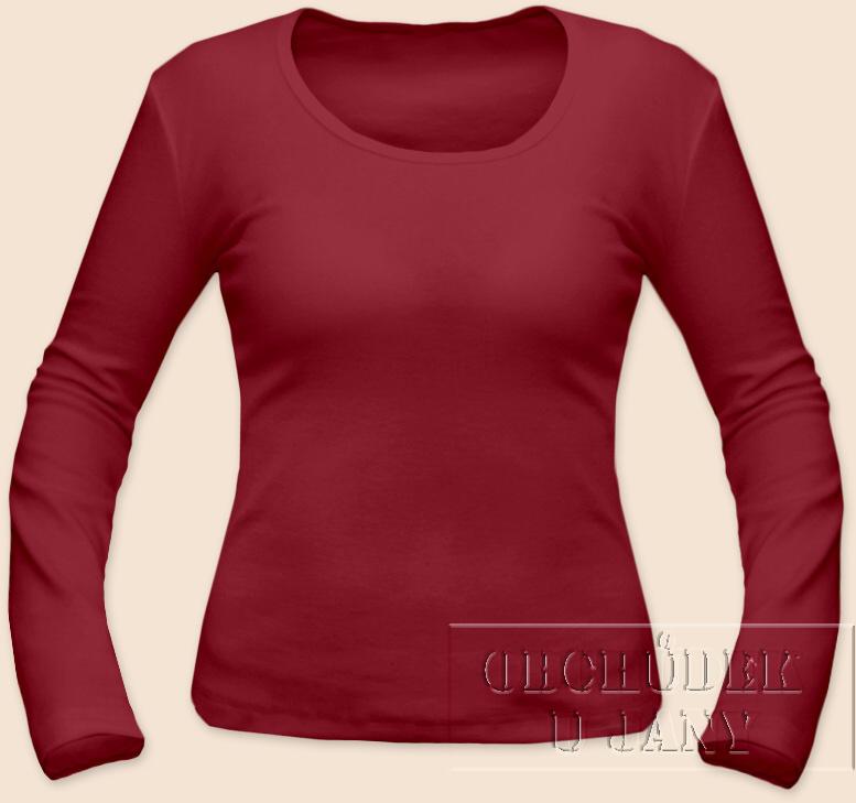 Dámské tričko dlouhý rukáv bordó