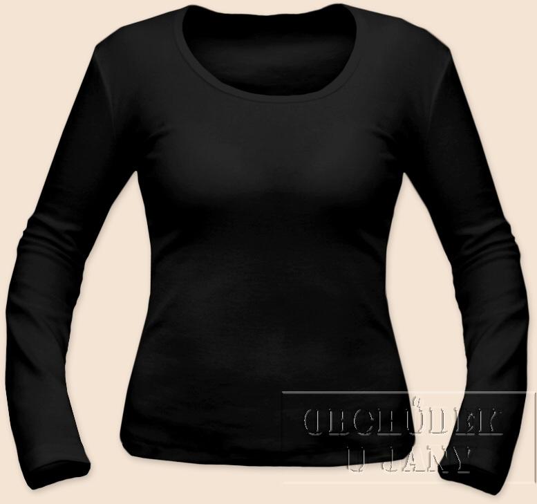 Dámské tričko dlouhý rukáv černé