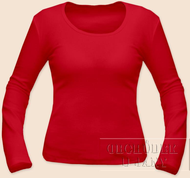 Dámské tričko dlouhý rukáv červené