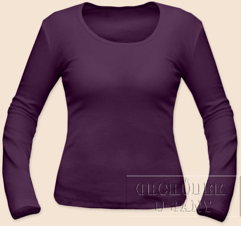 Dámské tričko dlouhý rukáv fialové
