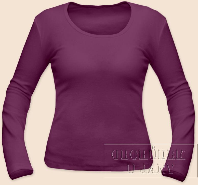 Dámské tričko dlouhý rukáv fialovo-růžové