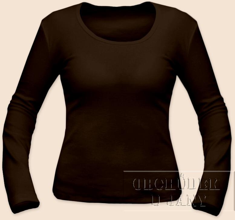 Dámské tričko dlouhý rukáv hnědé