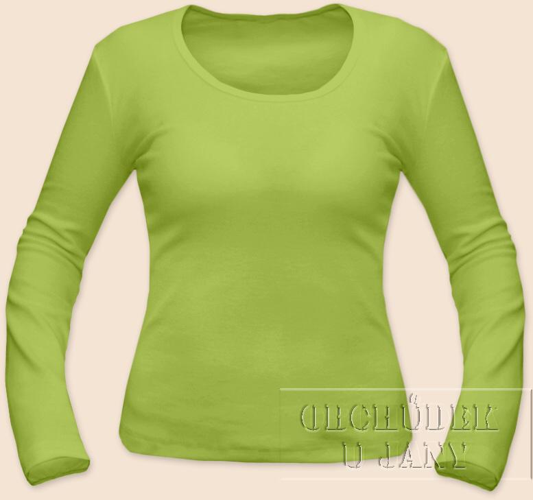 Dámské tričko dlouhý rukáv zelené hráškové