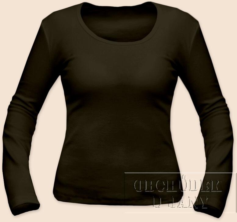 Dámské tričko dlouhý rukáv khaki