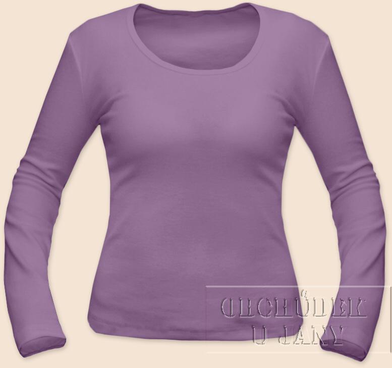 Dámské tričko dlouhý rukáv fialové šeříkové