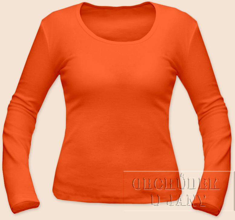 Dámské tričko dlouhý rukáv oranžové tmavé