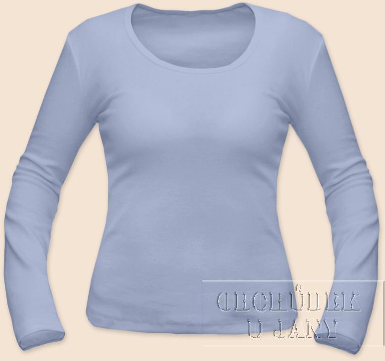 Dámské tričko dlouhý rukáv modré pomněnkové