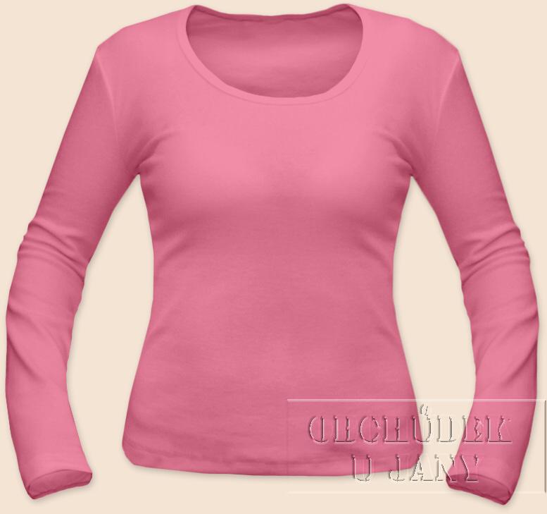 Dámské tričko dlouhý rukáv růžové
