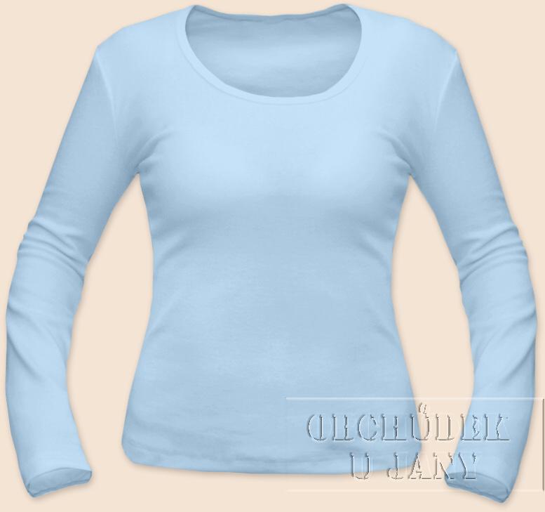 Dámské tričko dlouhý rukáv modré světlé