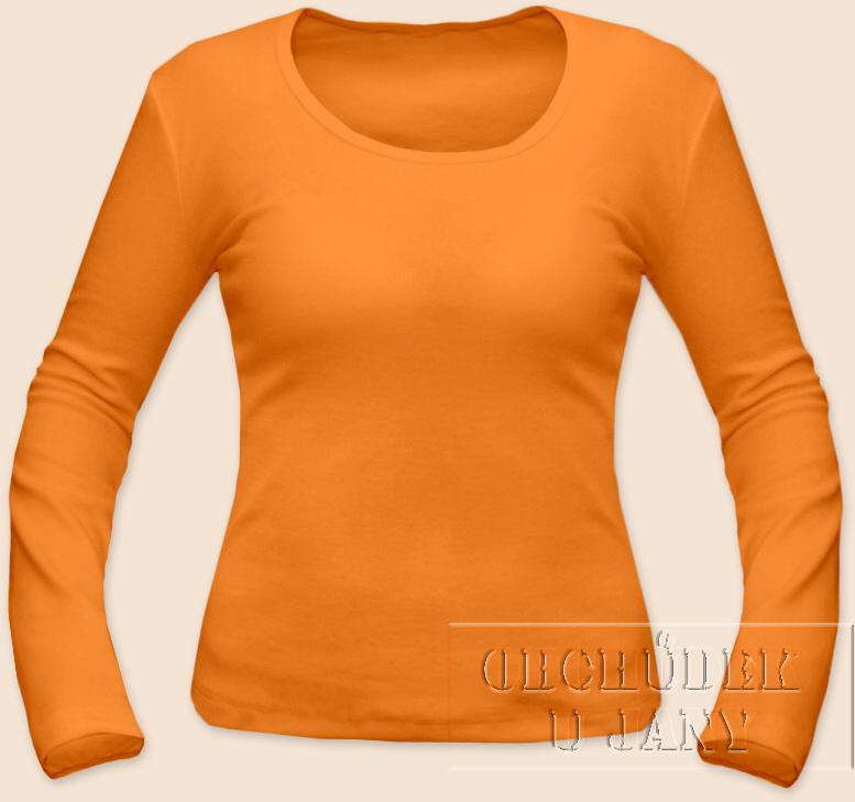 Dámské tričko dlouhý rukáv oranžové světlé