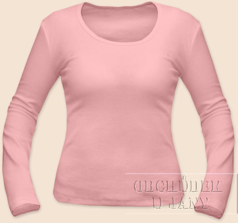 Dámské tričko dlouhý rukáv růžové světlé