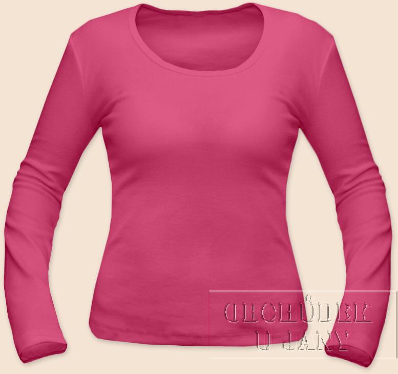 Dámské tričko dlouhý rukáv růžové tmavé