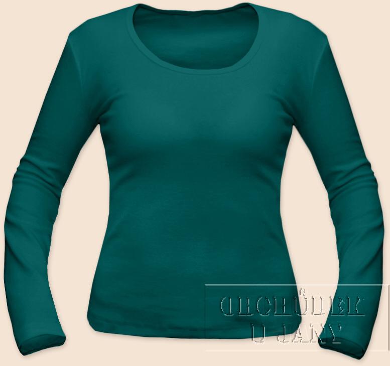 Dámské tričko dlouhý rukáv zelenomodré