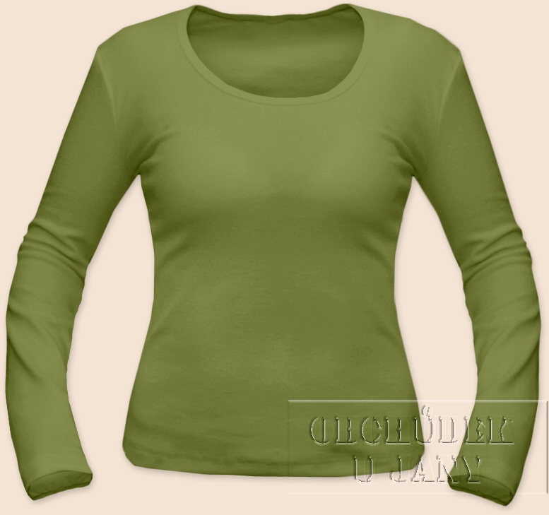 Dámské tričko dlouhý rukáv zelené olivové