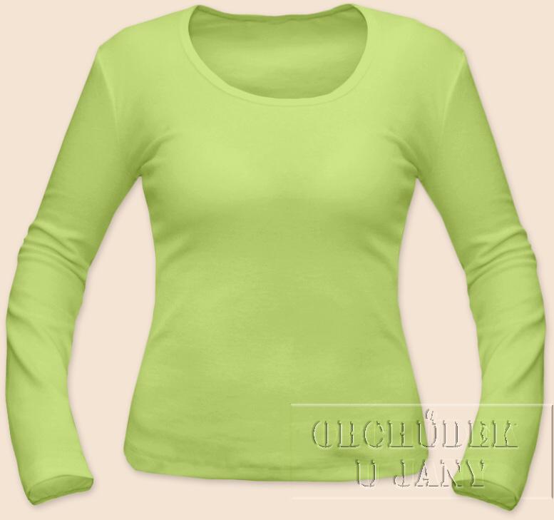 Dámské tričko dlouhý rukáv zelenkavé