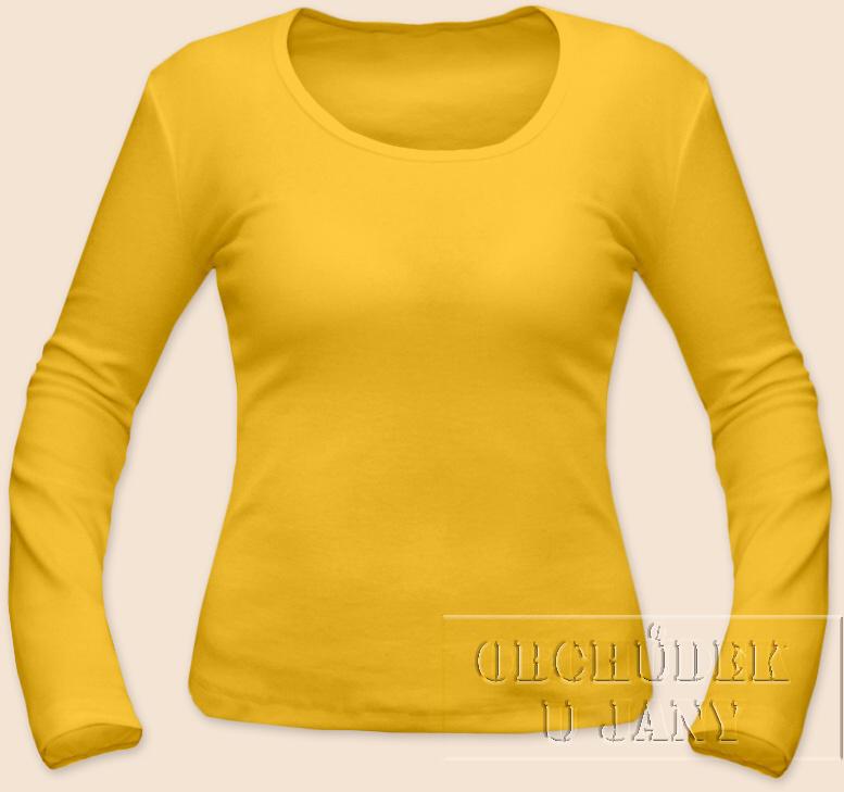 Dámské tričko dlouhý rukáv žluté