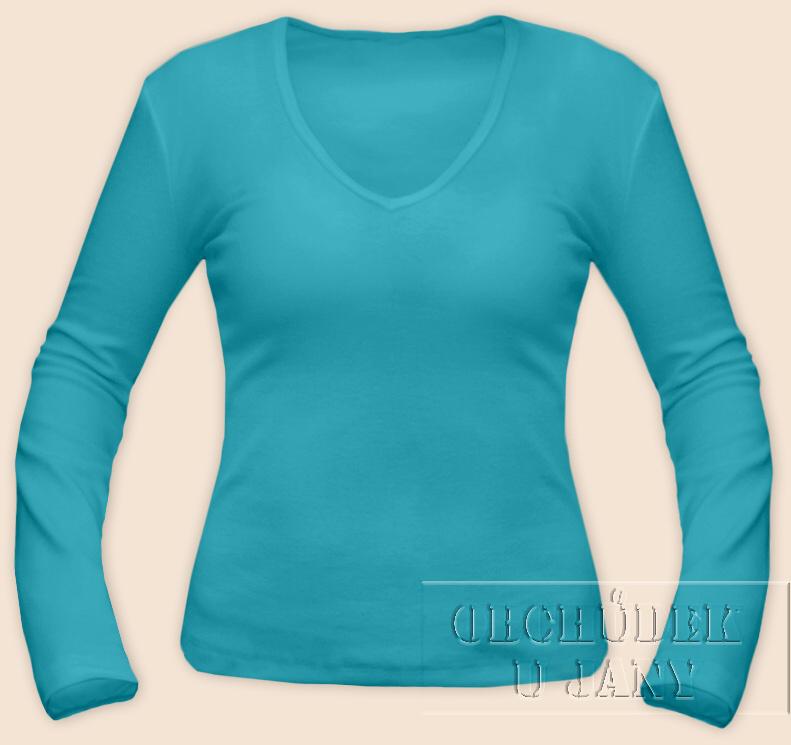 Dámské tričko dlouhý rukáv do V modré tyrkysové