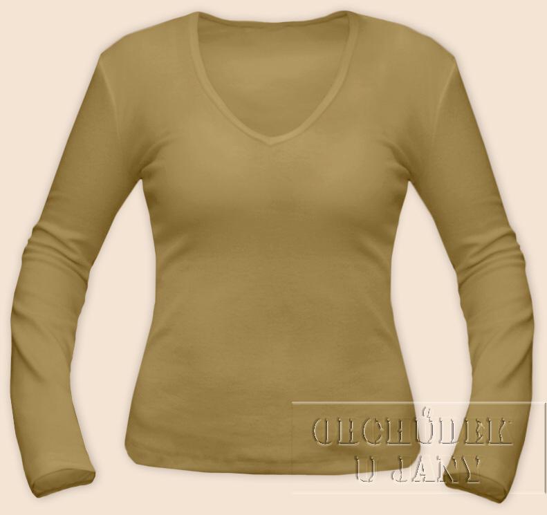 Dámské tričko dlouhý rukáv do V béžové