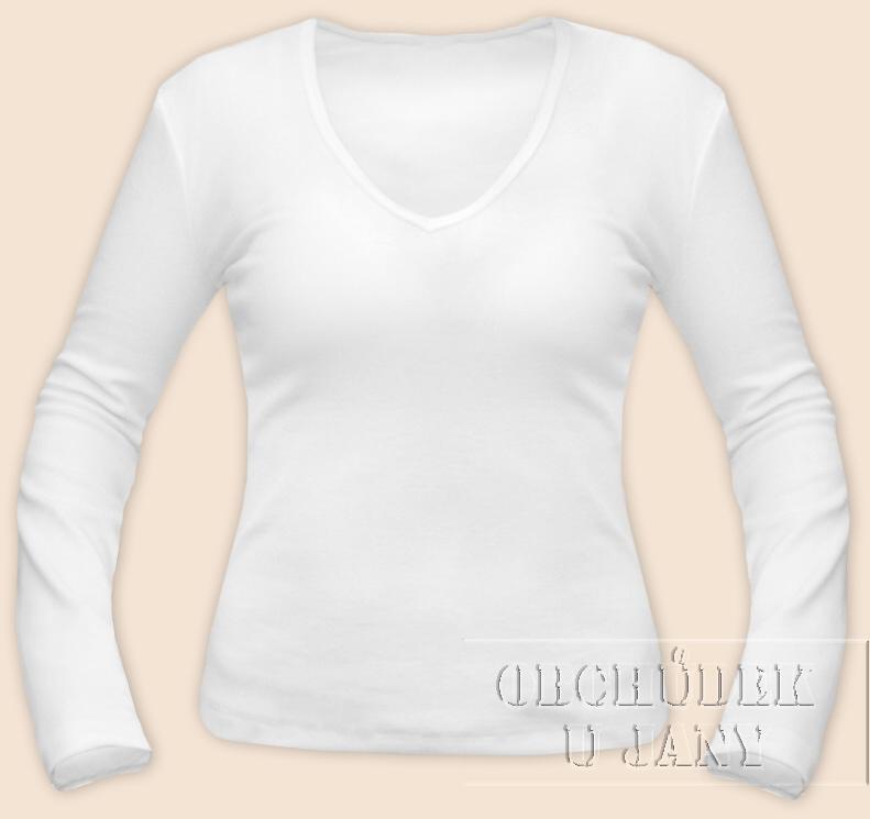 Dámské tričko dlouhý rukáv do V bílé