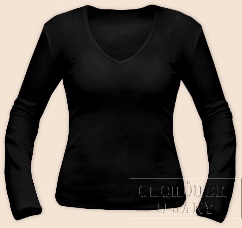 Dámské tričko dlouhý rukáv do V černé