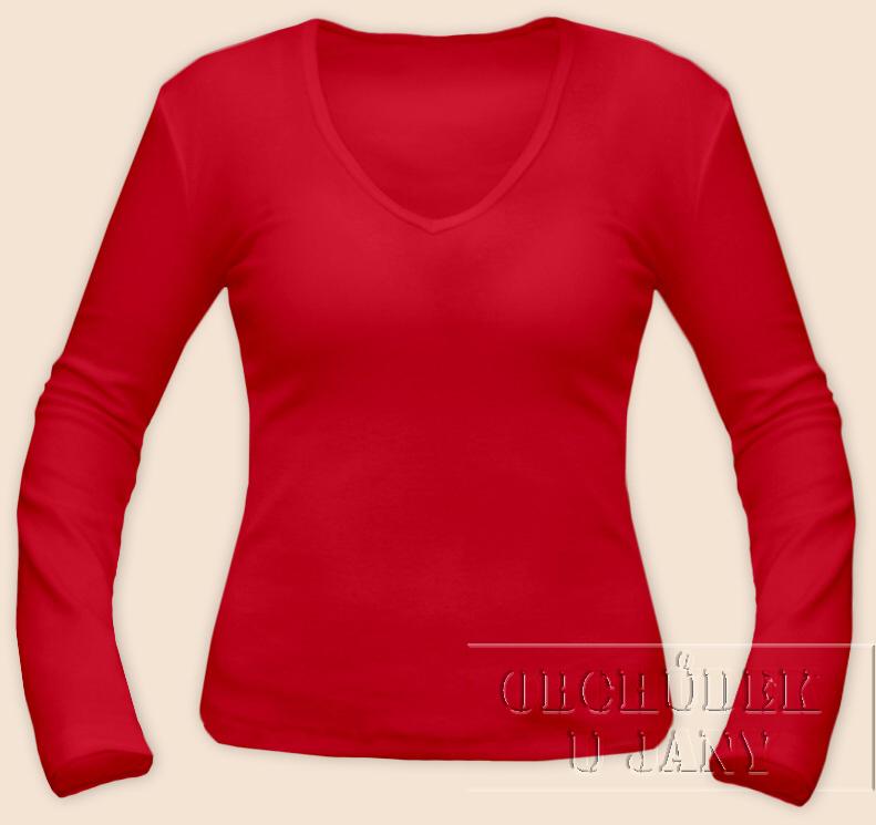 Dámské tričko dlouhý rukáv do V červené