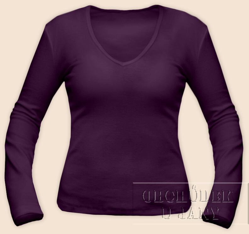 Dámské tričko dlouhý rukáv do V fialové
