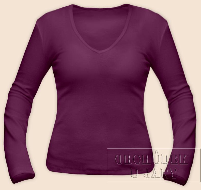 Dámské tričko dlouhý rukáv do V fialovo-růžové