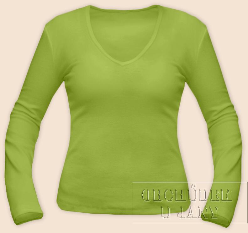 Dámské tričko dlouhý rukáv do V zelené hráškové