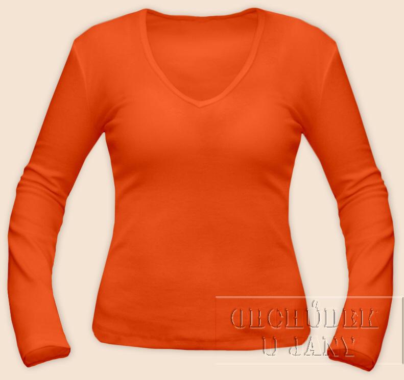 Dámské tričko dlouhý rukáv do V oranžové tmavé