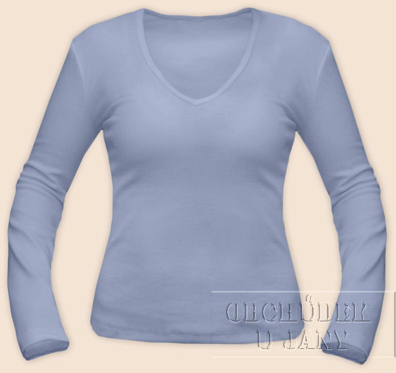Dámské tričko dlouhý rukáv do V modré pomněnkové