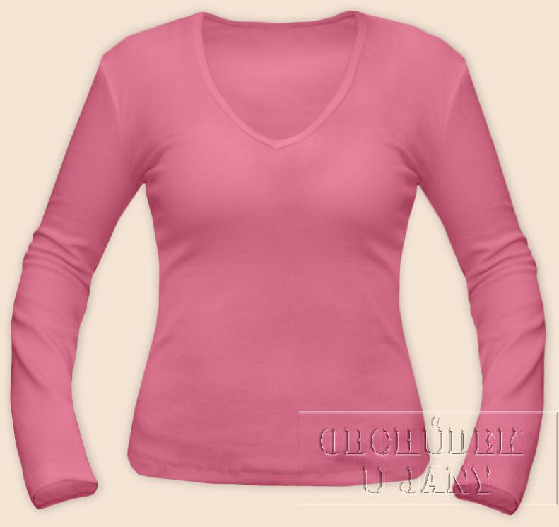 Dámské tričko dlouhý rukáv do V růžové