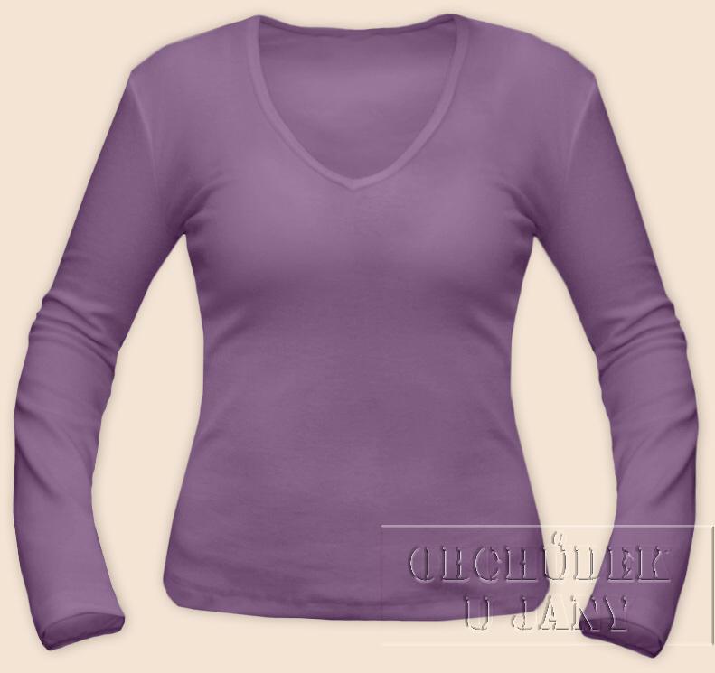 Dámské tričko dlouhý rukáv do V fialové šeříkové