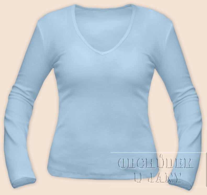 Dámské tričko dlouhý rukáv do V modré světlé